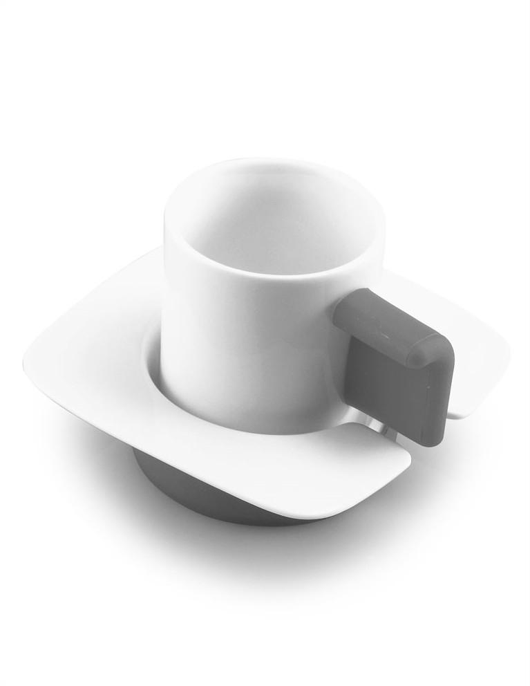 Coppia Tazze Caffè (bianco/grigio)